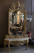 Mirror Console French Wooden Large Table Marble Gold Wall Antique Style