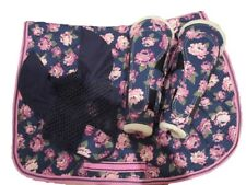 WOW! NEW FLORAL PINK SADDLE PAD CLOTH NUMNAH BOOTS FLY VEIL FULL HORSE COB PONY
