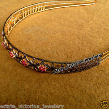 Retro 8.85cts Rose Cut Diamond Ruby Studded Silver Crown Tiara Hair Band Jewelry