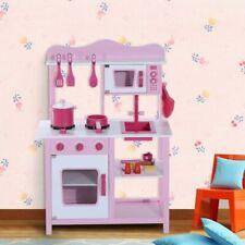 HomCom 350-003 Cocina de Juguete con Accesorios para Niños 3 Años - Rosa