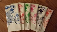 Screen Printed Napkin -Pack of 6- Bunny on Bike - 100% Cotton- Handmade