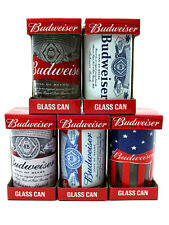 Budweiser Beer Drinking Bar Glass Can 10oz Collectible Designs Boxed Lot Of 5