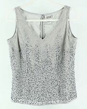 Apart Impressions 10 Gray Full Bead Sequin Polyester Back Zip Top H202
