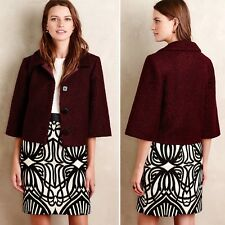 Raoul for Made In Kind Anthropologie Maroon Boucle Swing Jacket, Size 6 NWOT