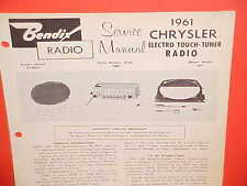 1961 CHRYSLER NEWPORT NEW YORKER 300G CONVERTIBLE BENDIX AM RADIO SERVICE MANUAL