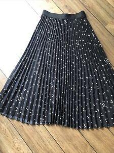 H&M Pleated Black Polka Dot Skirt Size S (10-14)