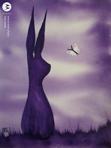 Original watercolour painting. Purple hare and little butterfly.