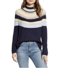 Caslon Women's Striped Mix Knit Mock Neck Pullover Sweater Size M