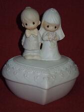 "vintage1981 Enesco Jonathan&David porcelain heart shape covered box dish 5"" tall"