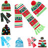 LED Glow Beanie Ugly Christmas Hat Light Up Knitted Scarf Cap Child Xmas Gifts