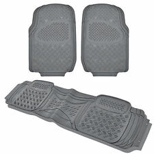 Gray Heavy Duty All Season Rubber Floor Mats 3 Piece Car Truck SUV