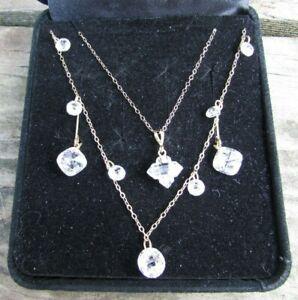 14k Solid Gold Diamonique 2 Necklace Set & Earrings CZ