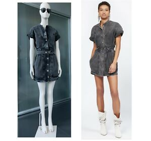 Authentic ISABEL MARANT Runway Trudy Washed-Denim Mini Dress Size 36