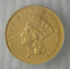 1855 Indian Princess Gold Three Dollar $3, ICG GRADE ALMOST UNCIRCULATED, NICE!!