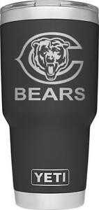 Chicago Bears YETI Laser Engraved Colster, 20 or 30 oz Black Tumbler