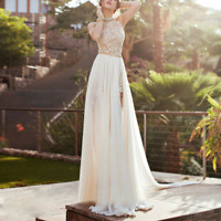 Women Bridesmaid Chiffon Evening Lace Long Dress Formal Party Cocktail Gown Prom