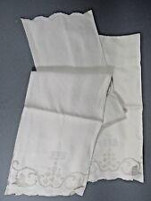 Pair of Irish Linen Huck Towels w/ Cutout Border Scroll & Monogram BFS
