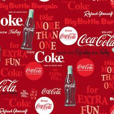 Sykel Enterprises Licensed Coca-Cola Fabric - Coke Logos and Bottles - Red