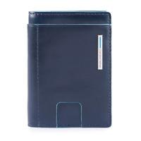 Piquadro Blue Square Portafogli porta carte 6 tessere RFID pelle blu PP4769B2R B
