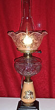 Antique Oil Table Lamp w/Reverse Painted Dutch House & Etched Ruffle Glass Shade