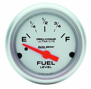 """AUTOMETER Ultra-Lite ELECTRIC UNIVERSAL GM CHEVY FUEL LEVEL GAUGE 2-1/16"""" (52mm)"""