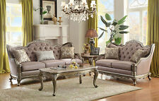 NEW Traditional Living Room Wood Trim Taupe Fabric Sofa Couch Loveseat Set IG5A