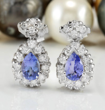 1.75 Carat Natural Tanzanite and Diamond in 14K Solid White Gold Stud Earrings