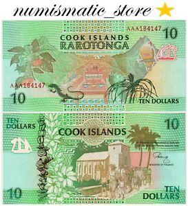 Cook Islands 10 Dollars 1992 P.8 serial:AAA UNC #742#