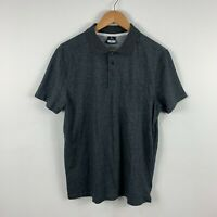 RipCurl Mens Polo Shirt Size Meduim Grey Short Sleeve Collared Relaxed Fit