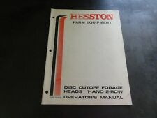 Hesston Disc Cutoff Forage Heads 1 and 2 Row Operator's Manual