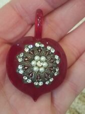 VTG.Blown Thick Glass With CZ& PEARLS PENDANT