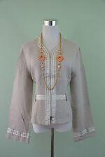 STAFF Designer Womens Beige Linen Business Formal Tailored Zip Jacket sz L G89
