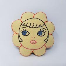 Vintage Plush Baby Rattle Handmade Folk Art Flower Face Sweet 1930s 1940s Sweet