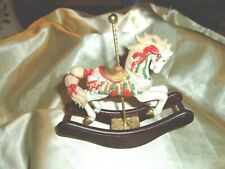 """""""LEFTON""""  Wooden Stand and Porcelain Horse Merry Go Round Rocking Horse"""