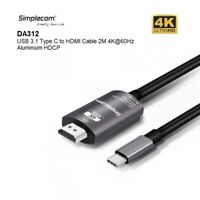 2M Simplecom USB Type-C USB-C to HDMI Cable Support 4K@60Hz Mobile Laptop NUC
