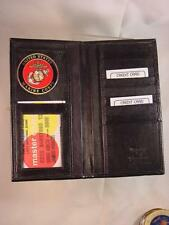 USMC US MARINE CORPS BLACK LEATHER BIFOLD VERTICAL CREDIT CARD WALLET