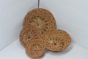 LOT Woven Wicker Rattan Basket Trivets Wall Basket Decor Boho/Farmhouse Set Of4