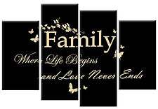 BLACK CREAM CANVAS FAMILY QUOTE WRITING PICTURE 4 PANEL SPLIT WALL ART 100cm