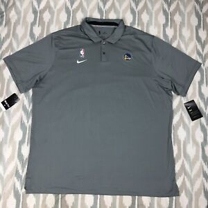 Nike NBA Golden State Warriors Men Short Sleeve Shirt Polo Gray Sz 2XL AV1775002