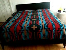 "Southwest graphic Bedding/ Bedspread/ Cover Queen 96""x87"" turquoise/red/camel"