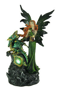 Emerald Green Fairy And Dragon LED Lighted Geode Statue
