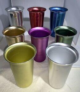 Vintage Metal Aluminum Colorful Zephyr Ware Tumblers Set of 8 Drink  Barware MCM