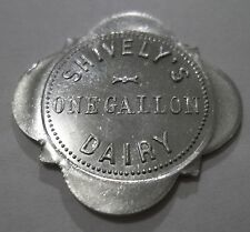 SHIVELYS DAIRY GOOD FOR ONE GALLON MILK NORTH MANCHESTER INDIANA IN TRADE TOKEN
