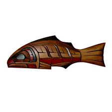 Northwest Native American Yellow Cedar Salmon Plaque Wall Hanging Haida Colours