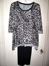 Lovely 2Pc Amanda Gray/Black Leopard Batwing Stretchy Slinky Top/Pant Set 1X NWT