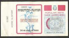 Argentina 1 vs Ireland 0 Soccer 1980 Ticket Friendly Match UNUSED