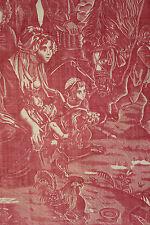 """Antique French pastoral toile textile """"L' heureuse Famille ou Dites Merci"""" RARE"""