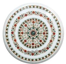 24 Inches Marble Coffee Table Top Round Sofa Table with Carnelian Gemstones Art