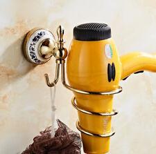 Brass Hair Dryer Holder Blower Spiral Hanger Hook Organizer Wall Mounted Shelf