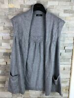 M&S Ladies Size 14 Grey Sleeveless Cardigan Viscose With Cashmere